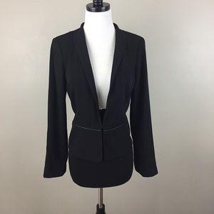 Eileen Fisher Peplum Blazer Jacket Leather Trim